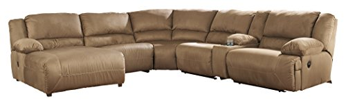 Ashley Furniture Signature Design - Hogan 6-Piece Sectional - Right Arm Recliner with Armless Recliner & Chair, Wedge, Console & Left Power Chaise - (Sectional Armless Power Recliner)