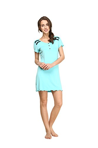 Suntasty Damen Baumwolle Kurz Nachthemd Sleepshirt (Blue,M,1007W)