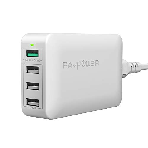 USB Fast Charger RAVPower 40W 4-Port QC 3.0 Fast Charger Desktop Charging Station Compatible Galaxy S9 S8 S7 Note 8, Compatible iPhone Xs XS Max XR X 8 7 Plus, iPad, Pixel, LG, Nexus 6, HTC (Black)