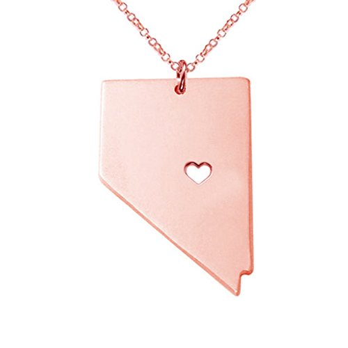 Joyplancraft NV State Necklace,Rose Gold Nevada State Charm Necklace,State Shaped Necklace With A Heart (Nevada State Charm)