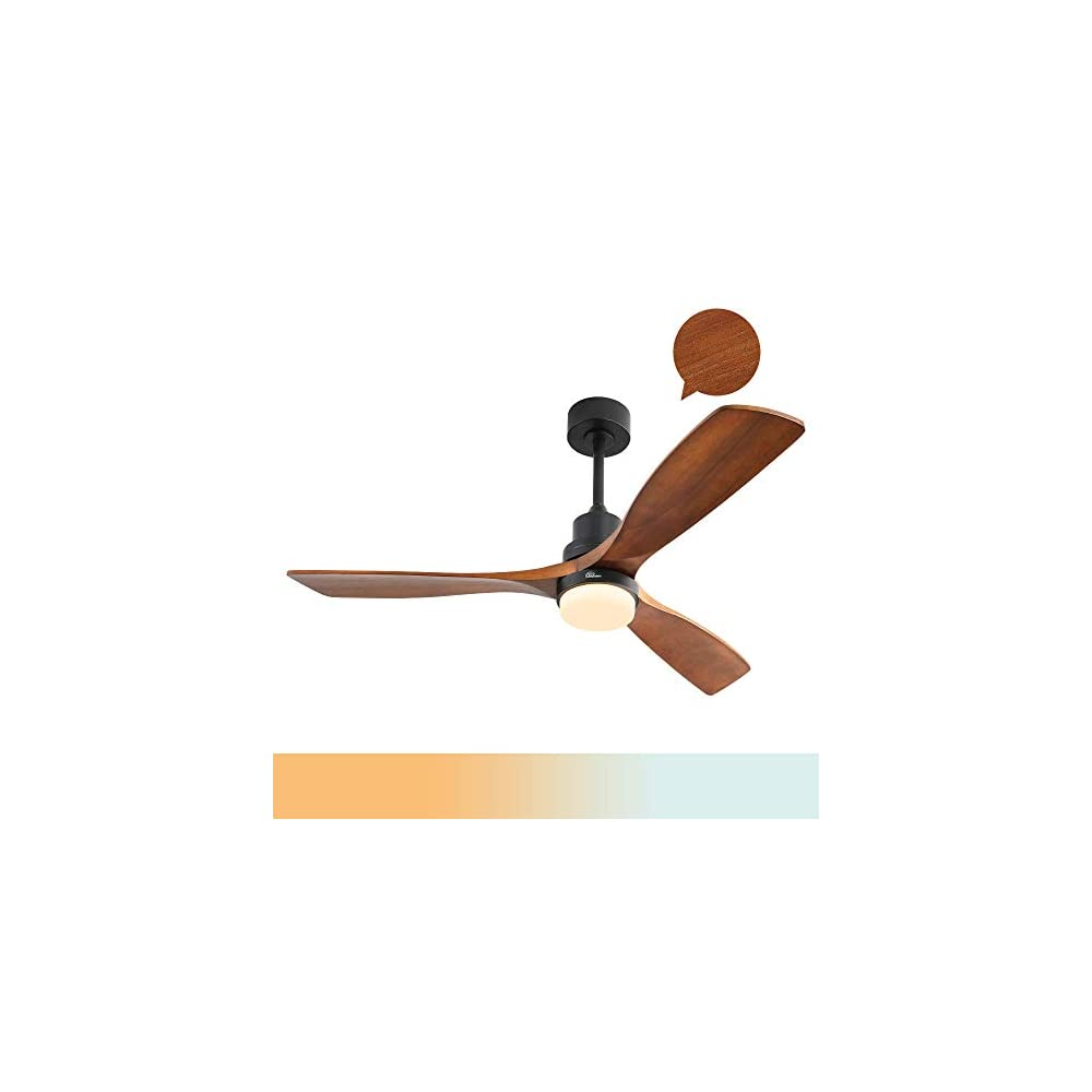 Sofucor Wood Ceiling Fan With Lights,3 Wood Fan Blade Ceiling Fans,Noiseless Motor,Solid Walnut and Matte Black