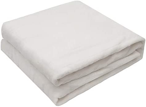 """Electric Throw Heated Blanket Full,Twin Size 50"""" x 60"""" Double-Layer Flannel with 4 Heating Settings, 4 Hours Auto Off, Machine Washable,White"""