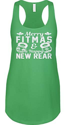 Blittzen Womens Tank Merry Fitmas & Happy New Rear - Funny, M, Green
