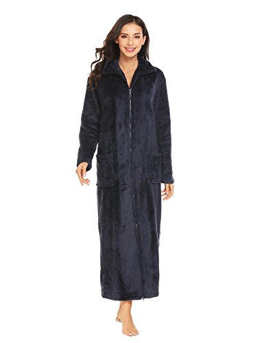 Ekouaer Women's Fleece Front Zip Robe Stand Collar Winter Nightrobe with Pockets, C-navy Blue, Medium