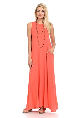 Pastel by Vivienne Women's Sleeveless Maxi Dress with Pockets Medium Coral (Coral Maxi Dresses For Women)