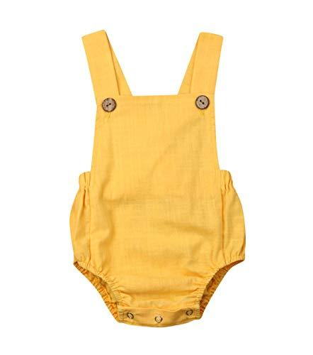 doublebabyjoy Newborn Baby 1 Piece Summer Romper Baby Girl Boy Solid Color Jumpsuit Sleeveless Backless Overalls Outfits (Yellow, 18-24 Months) ()