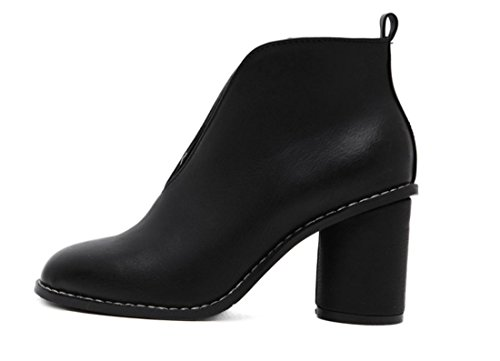 Neue Rough Shallow Party Mund Heel Single Herbst Damen Work Artificial Schuhe High Heel PU Schwarz Nightclub Frühling FqpnwSB