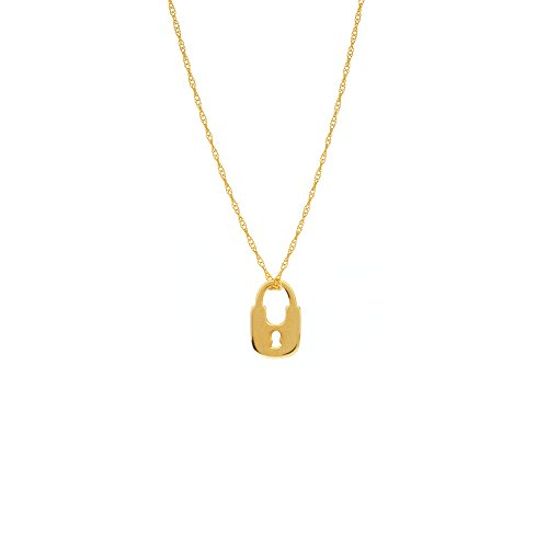 14k Yellow Gold Padlock Necklace on Rope Chain Adjustable Length - So You