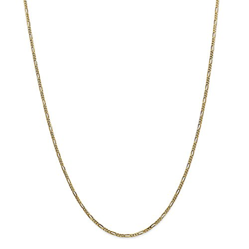 (14k Yellow Gold 1.80mm Flat Link Figaro Chain Necklace 18 Inch Pendant Charm Fine Jewelry Gifts For Women For Her)