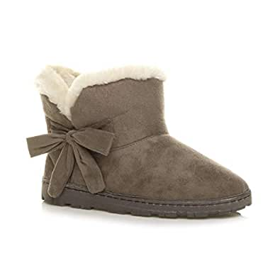 Ajvani Women's Flat Pull On Cosy Fur Lined Ankle Boots Booties Slippers Size 5 36