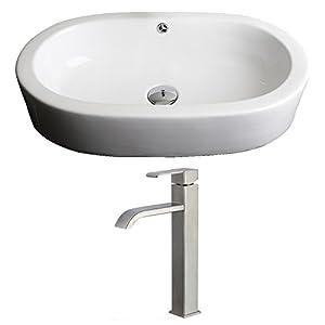 "outlet Jade Bath JB-14941 25"" W x 15"" D Oval Vessel Set with Deck Mount CUPC Faucet, White"