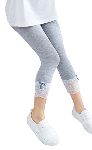 DealHouse Kid Baby Girl's Modal Cropped Leggings Tights with Lace Trim Bowknot Grey 2T