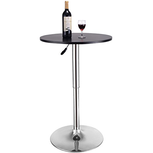Eosphorus Round Cafe Pub Bar Bistro Table Patio Restaurant Cocktail Pedestal Table Adjustable Hight Swivel | Black by Eosphorus