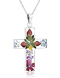 Sterling Silver Pressed Flower Multi-Colored Cross Pendant Necklace