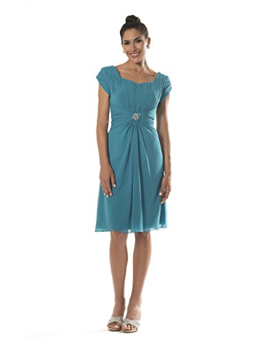Abigail Modest Chiffon Knee Length Gown with sleeves Size 12 (Occasion Special Dress Venus)