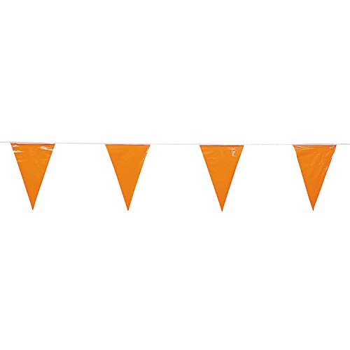 Fun Express - Orange Pennant Banner (100ft) - Party Decor - Hanging Decor - Pennants - 1 Piece ()