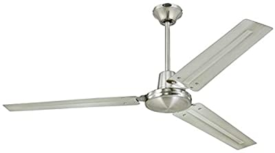 Industrial 56-Inch Three-Blade Ceiling Fan with Ball Hanger Installation System, Brushed Nickel