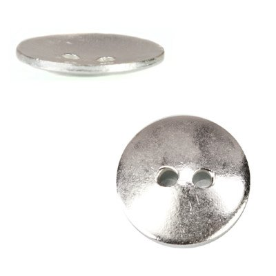 Sterling Silver Buttons - 16mm Silver plated Round Button, 10 pieces