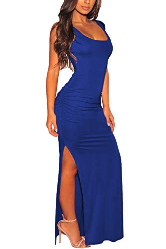 Pink Queen Women's Square Neck Sleeveless Ruched Sexy Summer High Slit Bodycon Dress L Blue (High Cut Slit)