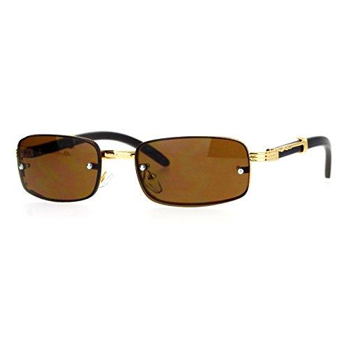 SA106 90s OG Rapper Luxury Fashion Rectangular Rimless Mens Sunglasses Gold - 90s Sunglasses Fashion