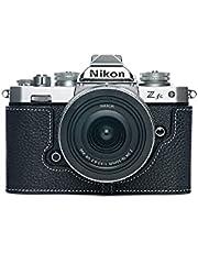 Z fc Zfc Camera Case, BolinUS Handmade Genuine Real Leather Half Camera Case Bag Cover for Nikon Z fc Zfc Camera Bottom Opening Version + Hand Strap (Black)