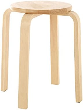 Premier Housewares Wooden Stool Small Stool Stacking Stools Tropical Hevea Wood Stool Anti-Fungal Wooden Stacking Stools 44 X 37 X 37 Cm