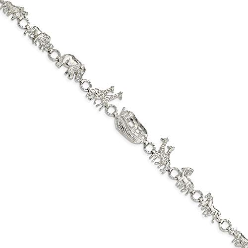 (925 Sterling Silver Noahs Ark Bracelet 7 Inch Religious Fine Jewelry Gifts For Women For Her)