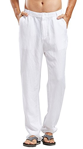 Chartou Man's Summer Casual Stretched Waist Loose Fit Linen Beach Pants (Small, White) ()