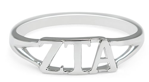 The Collegiate Standard Sterling silver Zeta Tau Alpha ring with cut-out letters size - Alpha Merchandise Tau Zeta