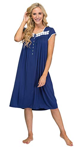(Eileen West Mid-Length Modal Knit Cap Sleeve Nightgown in Lacy Navy (Navy, Small))