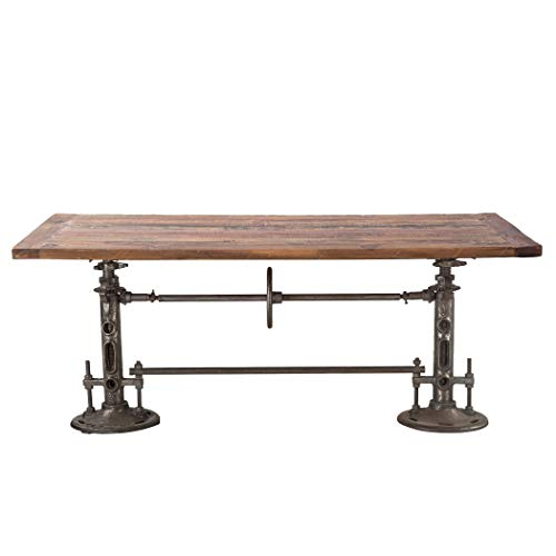 (World Interiors ZWAT38 Reclaimed Teak and Iron Adjustable Dining Table)