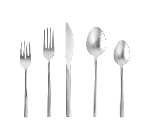 Fortessa Arezzo 18/10 Stainless Steel Flatware, 20 Piece Place Setting, Service for 4, Brushed Stainless - Square Set Flatware