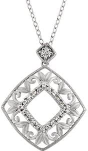Sterling Silver-Accented Filigree Necklace