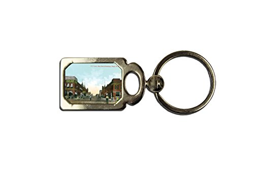 N P Ave, East From Broadway, Nd One Side Framed Metal Key Chain (East 1 Broadway)