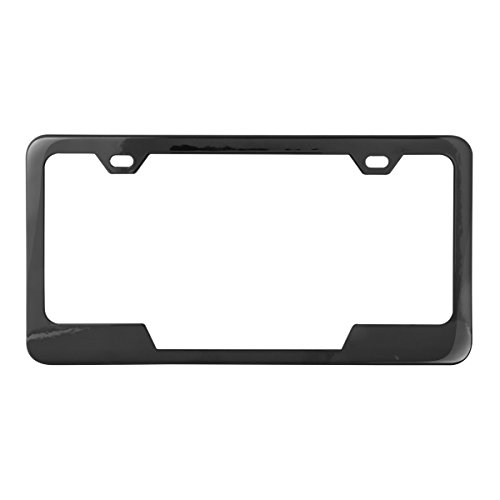 Grand General 60407 Black Semi-Gloss Powder Coated License Plate Frame with 2 Holes and Bottom Center Cut (Powder Coated Semi Gloss)
