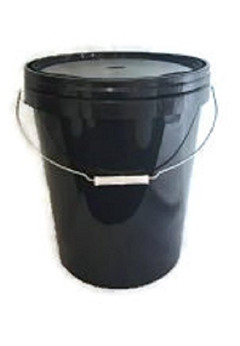 25 LITRE BLACK PLASTIC BUCKET WITH LID AND METAL HANDLE, HARD WEARING BUCKET RPC CONTAINERS LTD