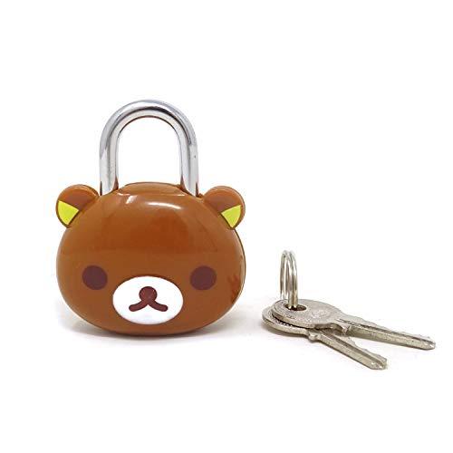 Honbay Cute Brown Bear Lock Padlock with Keys for Suitcases, Backpacks and Lockers