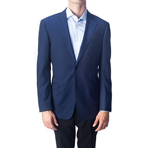 Armani Collezioni Men's Two Button Virgin Wool Pinstripe Sport Coat Jacket Blue