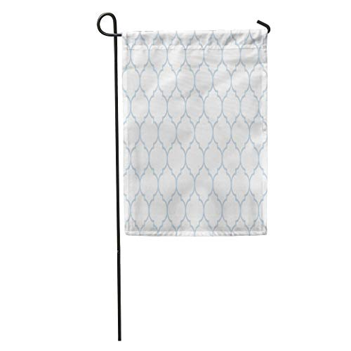 NgkagluxCap Garden Flag Trellis Subtle Blue and White Wide Moroccan Pattern Victorian Abstract Home Yard House Decor Barnner Outdoor Stand 12x18 Inches Flag ()