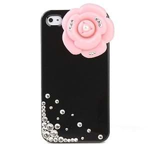 Estuche protector duro con cristales para iphone 4 (flor rosa)
