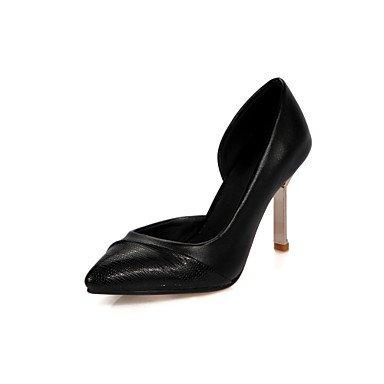 Talones de las mujeres del resorte de la caída Confort de cuero para oficina y del partido de la carrera y del vestido de noche del tacón de aguja común partido Negro Rosa Sliver Pink