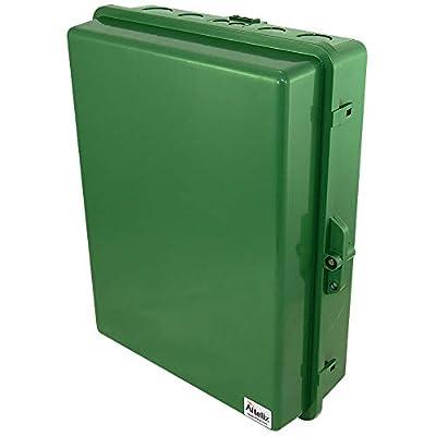 "Altelix Green NEMA Enclosure (14"" x 9"" x 4.5"" Inside Space) Polycarbonate + ABS Tamper Resistant Weatherproof Rainproof"