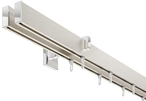 Innenlauf Gardinenstangen Set Eckig 2 Läufig Aluminium Silbert Eloxiertverchromt 240 Cm Kurzer Träger