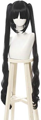 NSPSTT コスプレウィッグ かつら 黒髪 ツインテール クリップ型 ネット付きML358