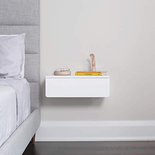 White Floating Nightstand with Drawer