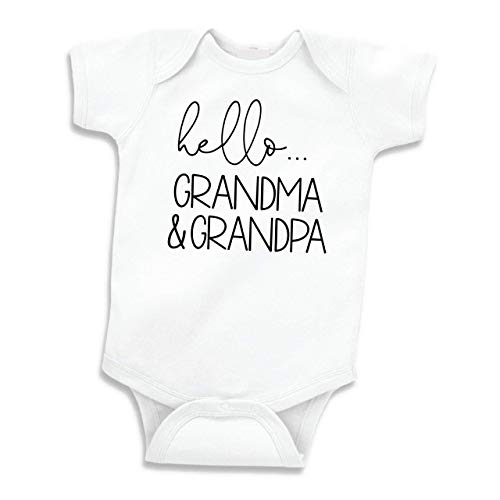 Hello Grandma and Grandpa Baby Announcement Gift Grandparents (White 0-3 Months)