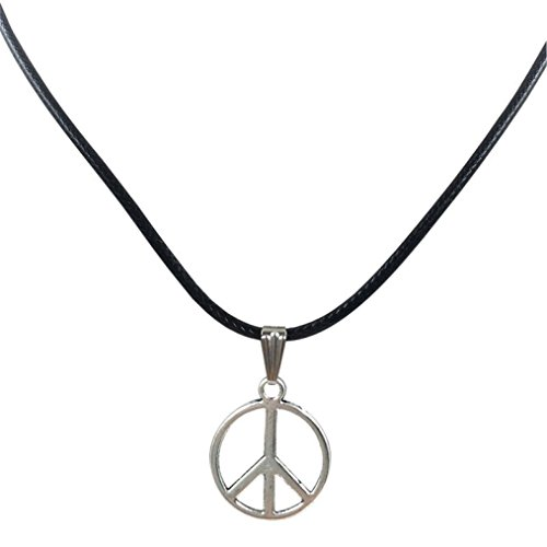 Molyveva Peace Pendant Necklace Classic Peace Sign Love Hippie Braided Leather Cord Rope Chain ()