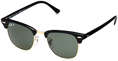 63f20f5b29 Ray-Ban Men s Clubmaster Aviator Sunglasses Frame  Black Lens  Crystal  Green Polarized