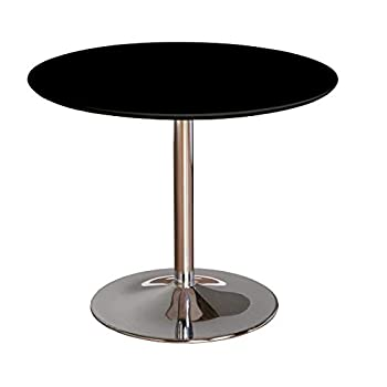 "TMS 89017BLK PISA Modern Retro Round Dining Table, 35.4"" W, Black"