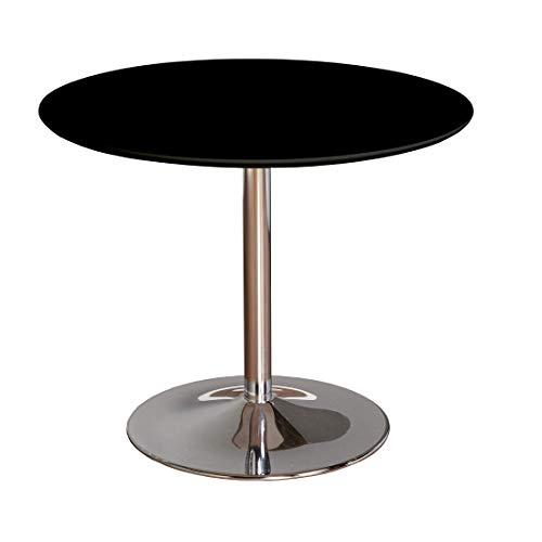 TMS 89017BLK PISA Modern Retro Round Dining Table, 35.4″ W, Black